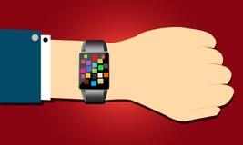 Mądrze zegarka pojęcie w ręce royalty ilustracja