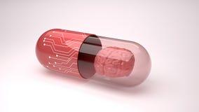Mądrzy leki wiek technologia z móżdżkowym pojęciem Obraz Stock