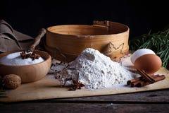 Mąka, arfa i jajka, obrazy stock