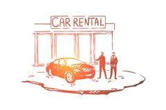 M??czy?ni na zewn?trz przedstawicielstwa handlowego centrum, klient i sprzedawca, handlowiec, luksusowy auto sklep, pojazd sala w ilustracja wektor