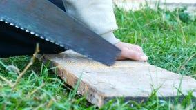 Mężczyźni piłują kawałek drewno z ręczny stary żelaznym zobaczyli zakończenie w górę widoku zdjęcie wideo