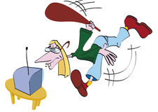 Mężczyzna łamająca telewizja Obrazy Royalty Free
