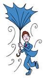 mężczyzna łamany parasol Fotografia Royalty Free