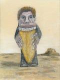 Mężczyzna łasowania kulebiaka obraz olejny Obrazy Royalty Free