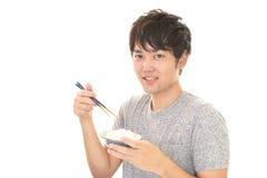 Mężczyzna łasowania posiłek Fotografia Stock