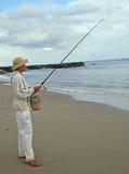 Mężczyzna łowi na seacoast wyspa Bali Fotografia Stock