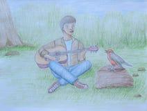 Mężczyzna śpiew z ptakiem Obrazy Stock