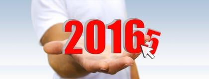 Mężczyzna świętuje nowego roku 2016 Zdjęcie Royalty Free
