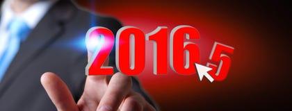 Mężczyzna świętuje nowego roku 2016 Obrazy Royalty Free