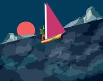 Mężczyzna żeglowanie na burzowej nocy ilustracji