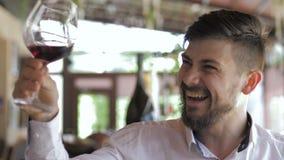 Mężczyzna analizuje szkło wino zbiory