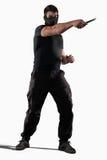 Mężczyzna atacking z nożem odizolowywającym Zdjęcie Royalty Free
