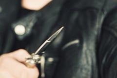 Mężczyzna atak z nożem obrazy stock