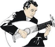 Mężczyzna bawić się gitarę ilustracja wektor