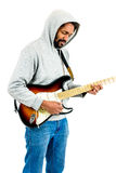 Mężczyzna bawić się gitarę elektryczną Odizolowywający na bielu Obrazy Royalty Free