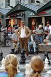 Mężczyzna bawić się szachy w Amsterdam Zdjęcie Stock