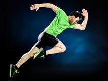 Mężczyzna biegacza jogger działający jogging odizolowywam obrazy stock