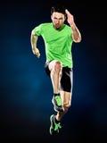 Mężczyzna biegacza jogger działający jogging odizolowywam obrazy royalty free