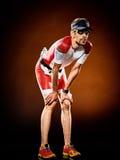 Mężczyzna biegacza triathlon działający ironman zdjęcie royalty free