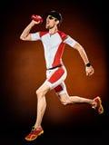 Mężczyzna biegacza triathlon działający ironman odizolowywający obraz stock