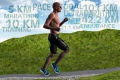 Mężczyzna biegacza wytrzymałości Maratońscy Działający Stażowi sporty Obrazy Royalty Free