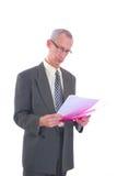 mężczyzna biznesowa skoroszytowa papierkowa robota Fotografia Stock