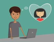 Mężczyzna blisko laptopu myśleć o dziewczynie Fotografia Stock