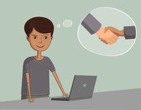 Mężczyzna blisko laptopu myśleć o partnerach biznesowych Obraz Royalty Free