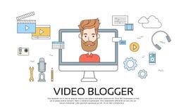 Mężczyzna Blogger Wideo Komputerowy Blogging pojęcie ilustracja wektor