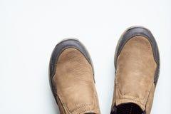 Mężczyzna brown rzemienni buty zamykają w górę odosobnionego na białym, odgórnym widoku, Obraz Stock