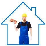 Mężczyzna budowniczy w błękitnym mundurze Obraz Royalty Free