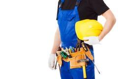 Mężczyzna budowniczy z setem budów narzędzia, odosobnionym Fotografia Stock
