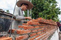 Mężczyzna buduje ścianę cegły zdjęcia royalty free