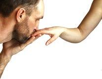 Mężczyzna całowania kobiety ` s ręka obrazy stock