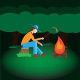 Mężczyzna camping w forrest Obrazy Stock