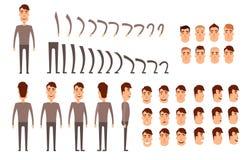 Mężczyzna charakteru tworzenia set Ikony z różnymi typ twarze, emocje, odziewają Przód, strona, tylny widok samiec