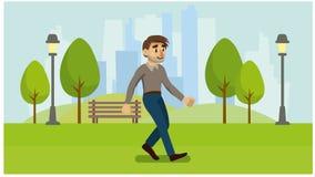 Mężczyzna chodzi w parku royalty ilustracja
