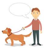 Mężczyzna chodzi z jego psim wektorem Zdjęcie Stock