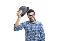 Mężczyzna chwyt jego kapelusz Zdjęcie Stock