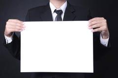 Mężczyzna chwyta signboard fotografia stock