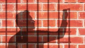 Mężczyzna cień Rysuje Jego Swój więzienie Jaźni bagatelizowania metafora Zdjęcie Royalty Free