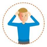 Mężczyzna cierpi od bólu w głowie Migrena ilustracji
