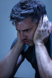 Mężczyzna cierpienie od załamania nerwowego Zdjęcie Royalty Free