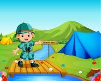 Mężczyzna Cieszy się widoku Tropikalnego Lasowego podróżnika Wycieczkuje Na przygoda wakacje ilustracja wektor