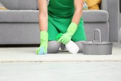 Mężczyzna cleaning dywan Zdjęcia Royalty Free