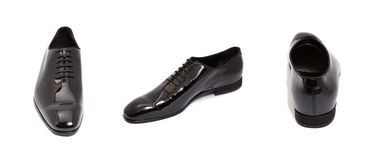 mężczyzna czarny glansowany rzemienny but obrazy stock