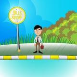 Mężczyzna czeka autobusowego wektor Fotografia Royalty Free