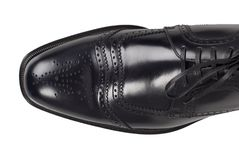 Mężczyzna czerni pojedynczy but odizolowywający Na bielu, odgórny widok zdjęcia stock