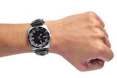 Mężczyzna czerni zegarek zdjęcia stock