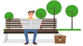 Mężczyzna czyta gazetę na ławce w parku Mężczyzna siedzi na ławce i czyta gazetę ilustracji